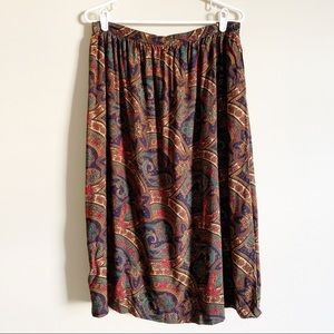 ALFRED DUNNER / vintage brown paisley skirt / 14